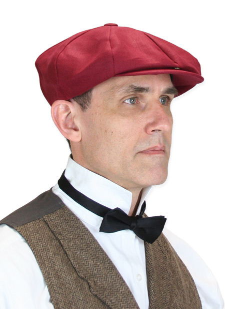 Wedding Mens Burgundy Linen Cap | Formal | Bridal | Prom | Tuxedo || Linen Applejack Cap - Burgundy