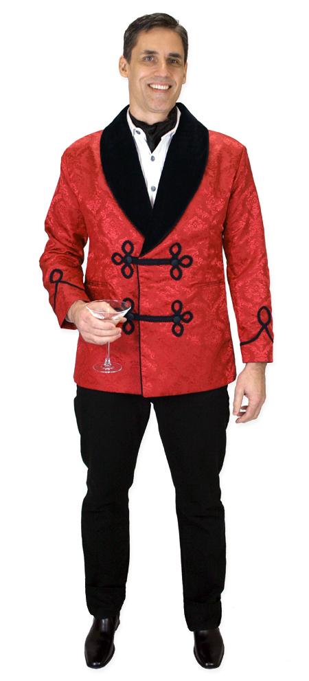 Vintage Smoking Jacket - Red Brocade