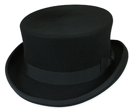 5255a722343 1800s Mens Black Wool Felt Top Hat
