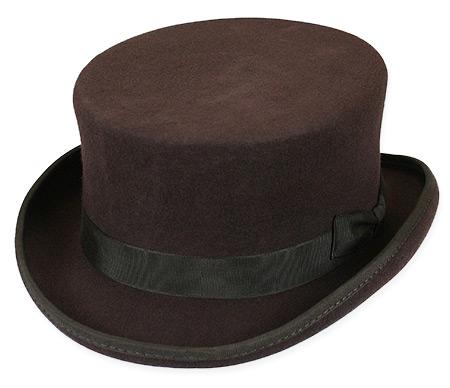 1800s Mens Brown Wool Felt Top Hat  68345b512bf3