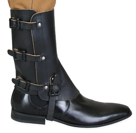 Deluxe Leather Gaiters Black One Pair