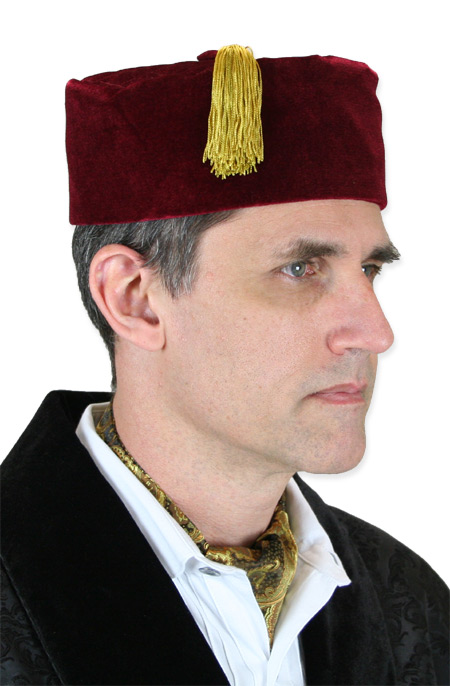 Steampunk Mens Burgundy Velvet Smoking Cap | Gothic | Pirate | LARP | Cosplay | Retro | Vampire || Vintage Quilted Smoking Cap - Burgundy Velvet