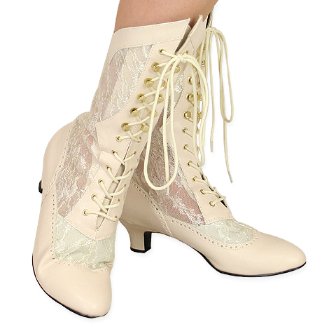 Steampunk Ladies Ivory Faux Leather Solid,Lacy Boots | Gothic | Pirate | LARP | Cosplay | Retro | Vampire || Verity Lace Victorian Boot - Ivory