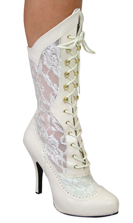 Harmony Victorian Lace Boot Ivory Faux Leather