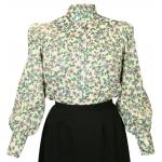 Victorian,Old West, Ladies Blouses Green Cotton Blend Floral Blouses |Antique, Vintage, Old Fashioned, Wedding, Theatrical, Reenacting Costume |