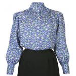 Victorian,Old West, Ladies Blouses Blue Cotton Blend Floral Blouses |Antique, Vintage, Old Fashioned, Wedding, Theatrical, Reenacting Costume |