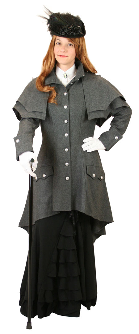 1800s Ladies Gray Wool Blend Stand Collar Cloak | 19th Century | Historical | Period Clothing | Theatrical || Madeline Inverness Coat - Gray