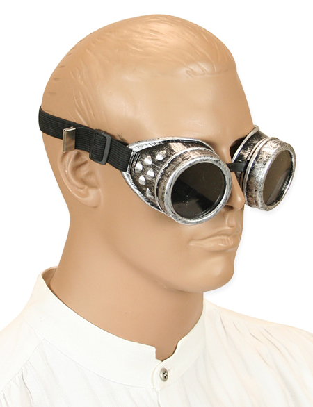 antiqued silver mad science goggles tinted lens
