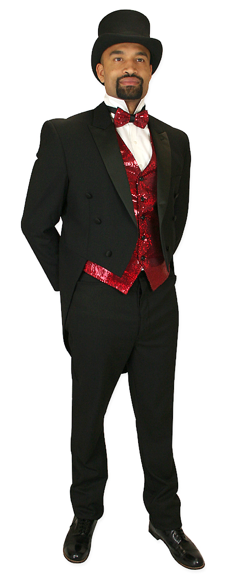 Vintage Mens Red Solid,Sequin No Collar Dress Vest | Romantic | Old Fashioned | Traditional | Classic || Headliner Sequin Vest and Tie Set - Red