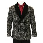 Victorian,Steampunk, Mens Coats Black Synthetic Floral Smoking Jackets |Antique, Vintage, Old Fashioned, Wedding, Theatrical, Reenacting Costume |