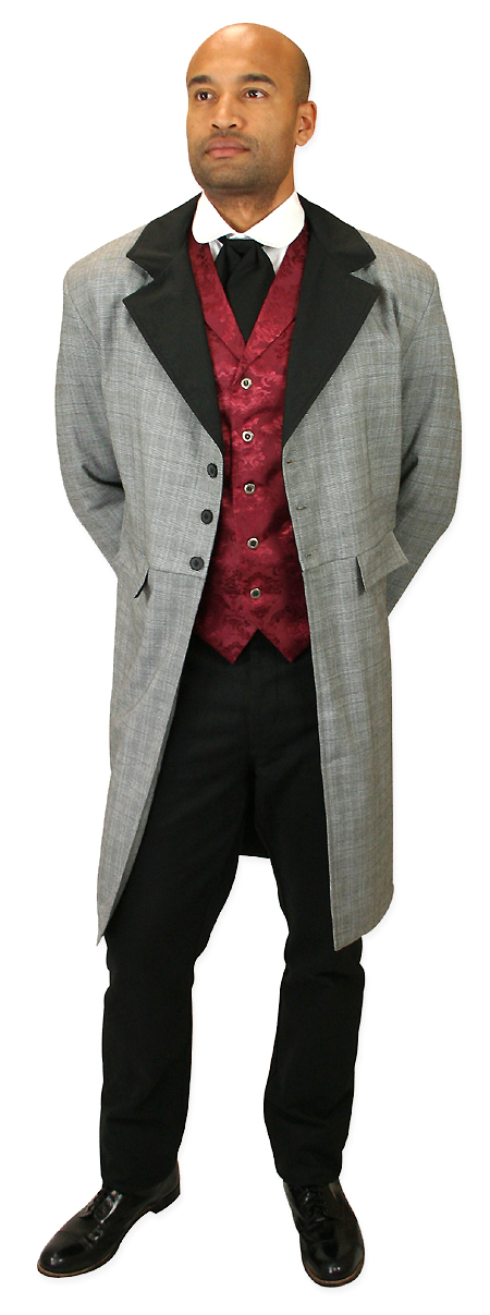 1800s Mens Gray,Black Plaid Notch Collar Frock Coat | 19th Century | Historical | Period Clothing | Theatrical || Higgins Frock Coat - Black/White Plaid