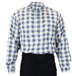 Victorian,Old West, Mens Shirts Blue Cotton Plaid Work Shirts |Antique, Vintage, Old Fashioned, Wedding, Theatrical, Reenacting Costume |