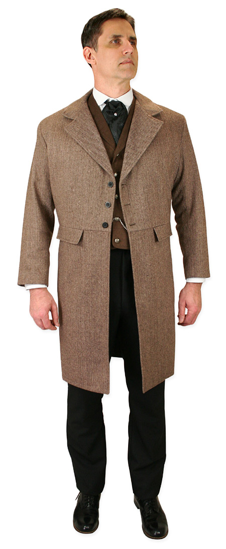 Vintage Mens Brown Solid,Herringbone,Tweed Notch Collar Frock Coat | Romantic | Old Fashioned | Traditional | Classic || Emerson Frock Coat - Brown Herringbone