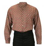 Old West, Mens Shirts Brown Cotton Geometric Work Shirts |Antique, Vintage, Old Fashioned, Wedding, Theatrical, Reenacting Costume |