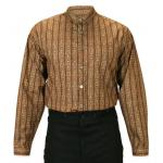 Victorian,Old West, Mens Shirts Brown Cotton Stripe,Floral Work Shirts |Antique, Vintage, Old Fashioned, Wedding, Theatrical, Reenacting Costume |