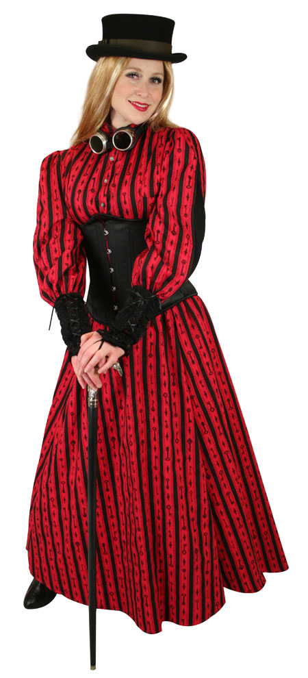 Victorian Ladies Red Cotton Print Dress Skirt | Dickens | Downton Abbey | Edwardian || Odessa Skirt - Red Antique Keys