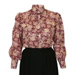 Victorian,Old West, Ladies Blouses Burgundy,Red Cotton Floral Blouses |Antique, Vintage, Old Fashioned, Wedding, Theatrical, Reenacting Costume |