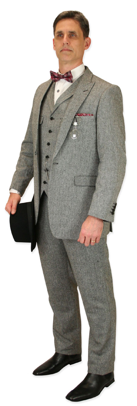 Wedding Mens Gray Solid Suit | Formal | Bridal | Prom | Tuxedo || Tomlinson Tweed Suit - Gray