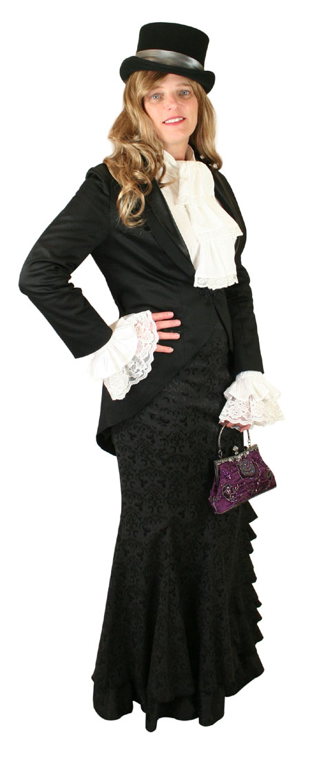 1800s Ladies Black Cotton Blend Shawl Collar Cutaway Coat | 19th Century | Historical | Period Clothing | Theatrical || Calliope Tailcoat - Black