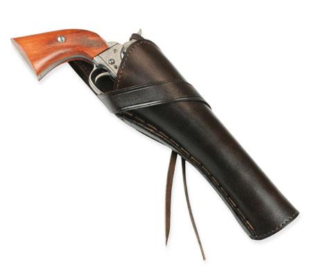 Western Holster - RH Cross-Draw (Long Barrel) - Plain Brown Leather