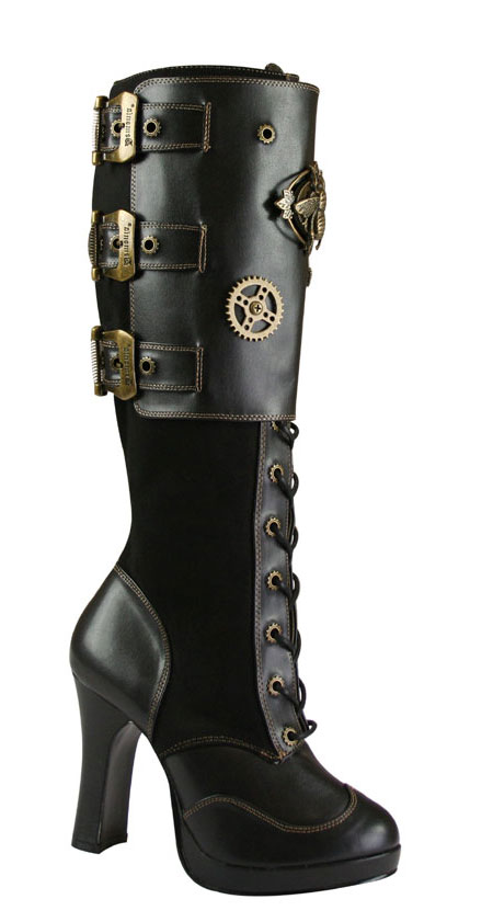 510d42cd80a0b Tall Steampunk Pirate Boot - Black Faux Leather