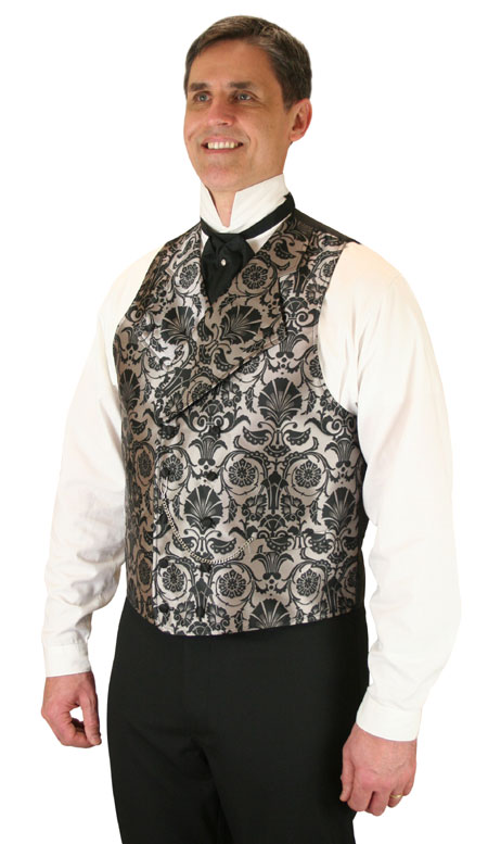 Vintage Mens Silver,Gray Floral Notch Collar Dress Vest | Romantic | Old Fashioned | Traditional | Classic || Penworth Vest - Silver