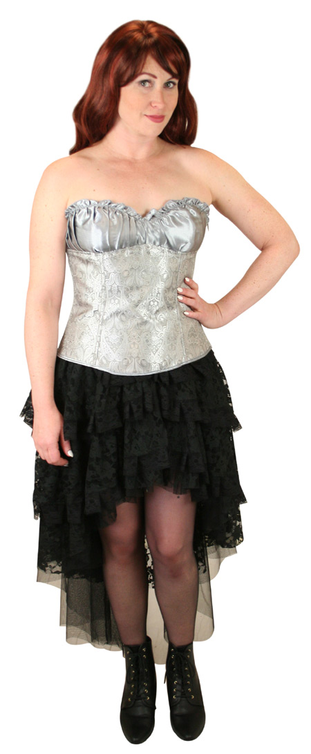 1800s Ladies Silver Paisley Corset | 19th Century | Historical | Period Clothing | Theatrical || Gigi Overbust Fashion Corset - Silver