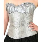 Victorian,Steampunk, Ladies Corsets Silver Satin,Synthetic Paisley Corsets |Antique, Vintage, Old Fashioned, Wedding, Theatrical, Reenacting Costume |