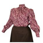 Victorian, Ladies Blouses Burgundy Cotton Floral,Calico Traditional Fit Blouses,Colorful Blouses |Antique, Vintage, Old Fashioned, Wedding, Theatrical, Reenacting Costume |