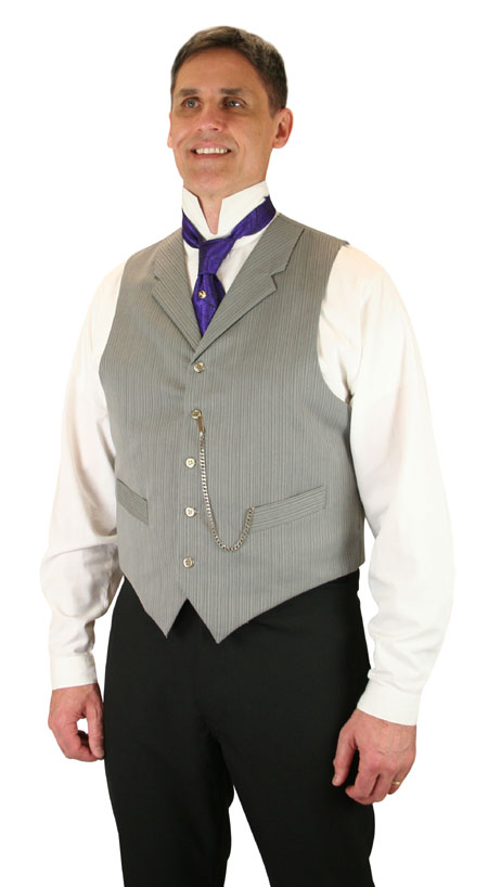 1800s Mens Gray Stripe Notch Collar Dress Vest | 19th Century | Historical | Period Clothing | Theatrical || Morton Vest - Gray Stripe