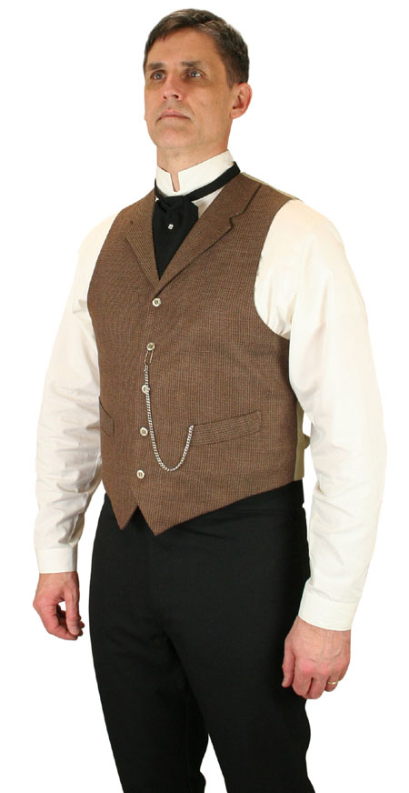 1800s Mens Brown Solid,Check Notch Collar Dress Vest | 19th Century | Historical | Period Clothing | Theatrical || Garland Vest - Brown