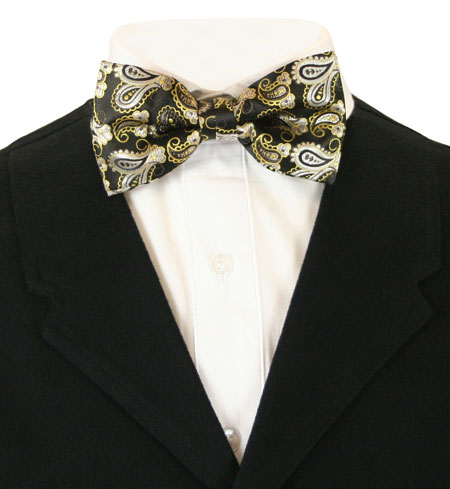 Wedding Mens Black,Gold Paisley Bow Tie | Formal | Bridal | Prom | Tuxedo || Chic Bow Tie - Black/Gold Paisley