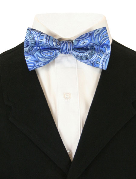 Victorian Mens Blue Paisley Bow Tie | Dickens | Downton Abbey | Edwardian || Dashing Bow Tie - Blue Paisley