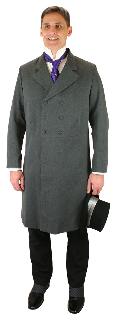 Wedding Mens Gray Solid Notch Collar Frock Coat | Formal | Bridal | Prom | Tuxedo || Double-Breasted Frock Coat - Charcoal