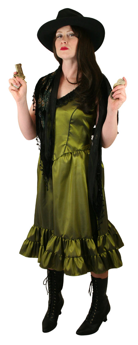 Steampunk Ladies Green Solid Dress | Gothic | Pirate | LARP | Cosplay | Retro | Vampire || Delilah Saloon Dress, Peridot Green