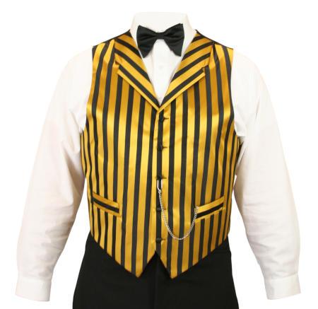 Historical Emporium Mens Ragtime Satin Striped Dress Vest 004306