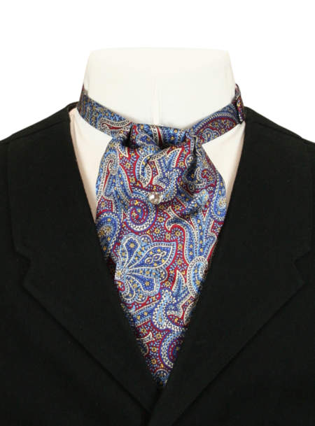 Vintage Mens Blue,Burgundy Silk Paisely Puff Tie | Romantic | Old Fashioned | Traditional | Classic || Silk Puff Tie - Navy and Burgundy Paisley