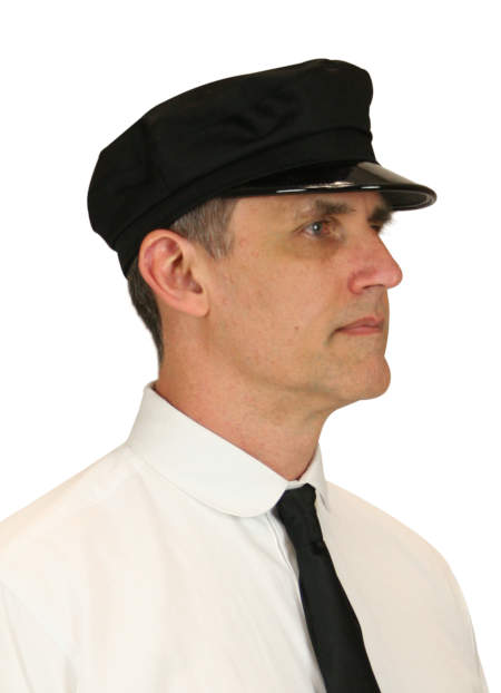 Wedding Mens Black Cotton Cap | Formal | Bridal | Prom | Tuxedo || Deluxe Chauffeur Cap - Black